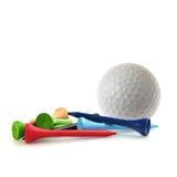 Golf ball and tees stock photos