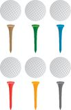 Golf ball and tees. Multiple colored golf ball and tees Royalty Free Stock Images