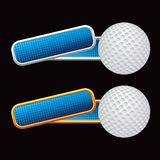 Golf ball on tilted blue banners Stock Photos