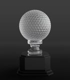 Golf ball trophy. 3d render of crystal golf ball trophy on black background Stock Photography