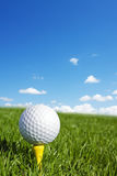 Golf ball vertical. Golf ball with copy space Royalty Free Stock Photography