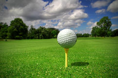 Golf ball view. Ball view for the golf course with flag Stock Images