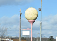 Golf Ball Vintage Sign With Dimple Engravings.  Royalty Free Stock Photo