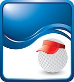 Golf ball with visor on blue wave background Stock Photo