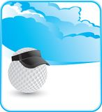 Golf ball with visor with cloud backdrop Stock Image