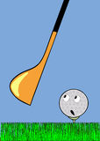 Golf-ball waiting stroke Royalty Free Stock Images