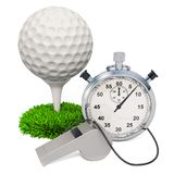 Golf ball with whistle and stopwatch, 3D rendering. Isolated on white background vector illustration