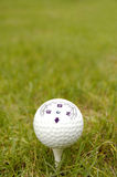 Golf ball whit Compass. Golf ball white in grass whit Compass Stock Photo