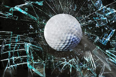 Golf ball through window. Fast golf ball through broken window Stock Image