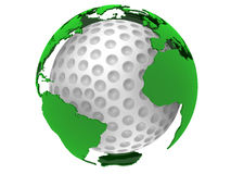 Golf ball with world map Stock Photography