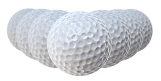 Golf balls. Seven golf balls arranged in a V-shape stock photo