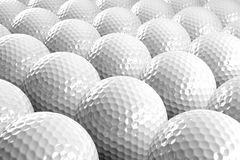 Golf balls. 3d white Golf balls in row Royalty Free Stock Photography