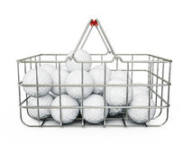 Golf balls. In basket isolated on a white Stock Photography