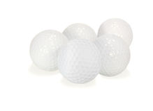 Golf Balls. Five golf balls on a white background Stock Image