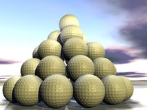 Golf balls as a pyramide Stock Photo
