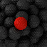 Golf balls black and red Stock Photo
