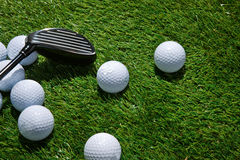 Golf balls and club Royalty Free Stock Photography