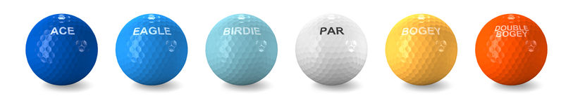 Golf balls colored for typical stroke scores. Golf balls colored as golf stroke scores such as ace, eagle, birdie, par, bogey and double bogey on white Royalty Free Stock Photos