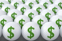 Golf Balls with Dollar Sign. Golf Balls with Green Dollar Sign Royalty Free Stock Image