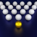 Golf balls formation Stock Images