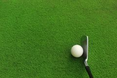 Golf balls and golf clubs on green grass. Golf equipment in the top view.Sports that people around the world play during the holidays for health royalty free stock images