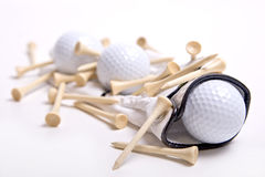 Golf Balls on Golf Glove with Tees Royalty Free Stock Photo