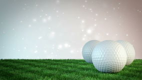 Golf balls on grass field with bokeh background - seamless loop. 3D render vector illustration