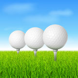 Golf. Balls in grass on tees vector illustration Stock Image