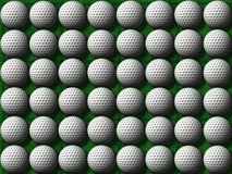 Golf balls on green grass. Heaps of golf balls on a green grass background Royalty Free Stock Photography