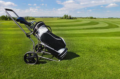 Golf balls green grass background Royalty Free Stock Photo