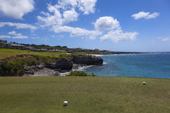 Golf balls on green on ocean front course in Maui, Hawaii. Golf balls on green on Kapalua course ibeside ocean Maui, Hawaii stock image