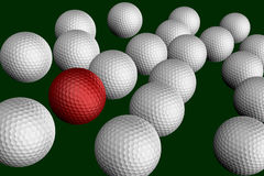 Golf balls on gren background. With one different color Royalty Free Stock Photo