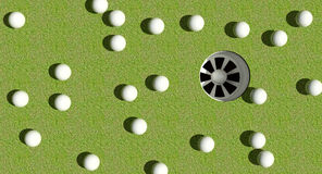 Golf balls hole. Many golf balls to be putted into the hole but with one winner Stock Photography