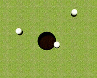Golf balls hole. 3 golf balls about to be putted into the hole Royalty Free Stock Photography