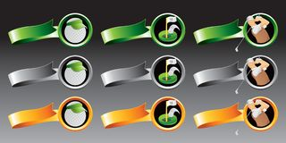 Golf balls, holes, and golfers on colored ribbons Stock Photo