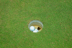 Golf balls inside the hole Stock Images