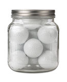 Golf Balls in a Jar isolated Royalty Free Stock Photos