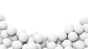 Golf balls pile with copy-space. Isolated on white background Stock Photo