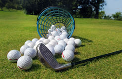 Golf balls pouring out of basket onto grass Royalty Free Stock Images