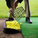 Golf balls pouring out of basket Royalty Free Stock Images