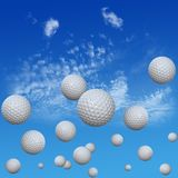 Golf Balls set in High Cloud Sky. A group of golf balls course into a high cloud blue sky. High drives. 3D illustration stock illustration