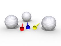 Golf balls and tees. 3d illustration of golf balls and tees Royalty Free Stock Photos