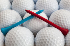 Golf balls and tees. White golf balls and different tees Royalty Free Stock Image
