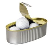 Golf Balls in Tin Can Stock Photo