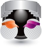 Golf balls with visors on silver crest Stock Photography