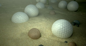 Golf Balls In Water Hazard Royalty Free Stock Photography
