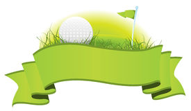 Golf Banner. Illustration of a green golf banner with imagery elements of this sport, ball, flag and putting green stock illustration