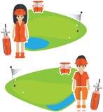 Golf banner. Cartoon Golf icon boy and girl stock illustration