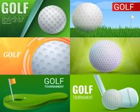 Golf banner set, cartoon style stock illustration