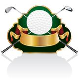 Golf baroque. Blank golf golden award with ball and clubs